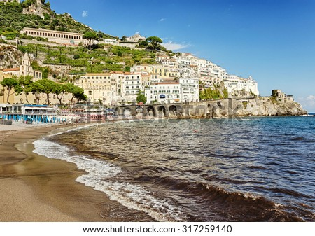 Amalfi - seaside town at the Gulf of Salerno in the Italian province of Salerno. Italy. Amalfi Coast - UNESCO World Heritage site and popular tourist center.