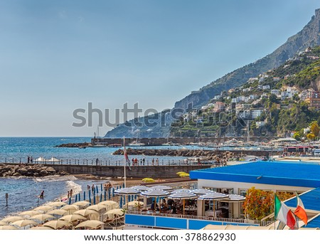 Amalfi - seaside town in the Gulf of Salerno in the Italian province of Salerno, the heart of the Amalfi coast - UNESCO World Heritage Site, the resort in southern Italy.  - stock photo