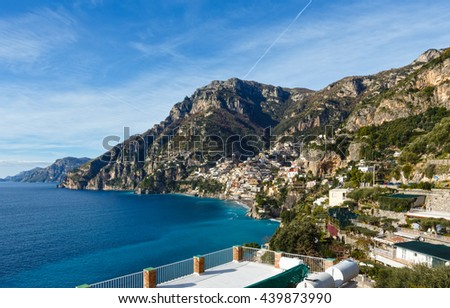 Amalfi town coast view on rocky hill, Italy.