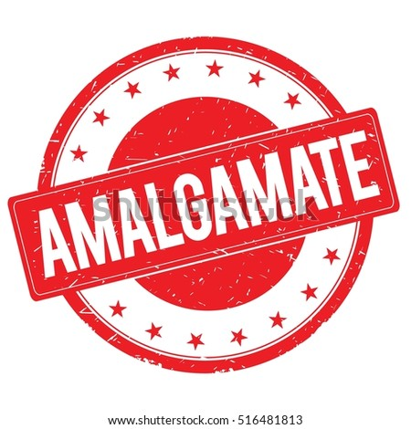 AMALGAMATE stamp sign text word logo red.