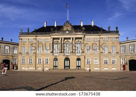 Amalienborg. Royal Palace in Copenhagen. Denmark  - stock photo