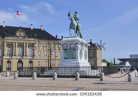 Amalienborg - The Queen's residence. Square located in Copenhagen, Denmark