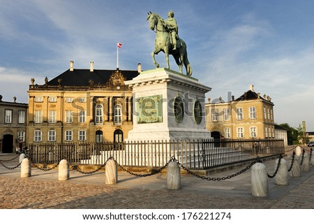 Amalienborg - The Queen's residence. Square located in Copenhagen, Denmark  - stock photo