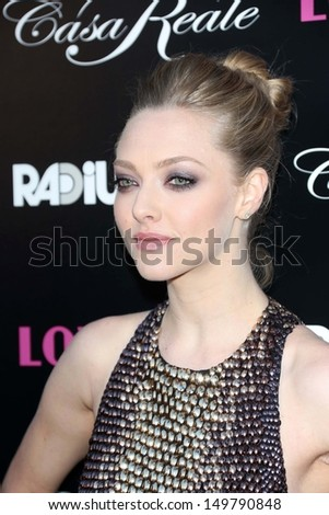 """Amanda Seyfried at the """"Lovelace"""" Los Angeles Premiere, Egyptian Theater, Hollywood, CA 08-05-13 - stock photo"""