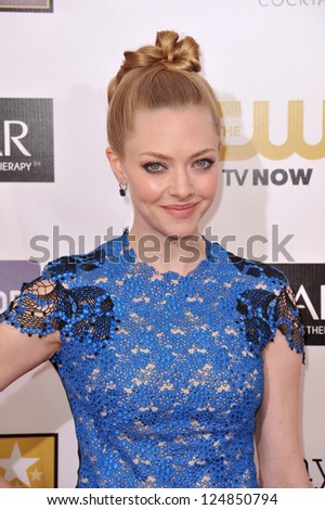 Amanda Seyfried at the 18th Annual Critics' Choice Movie Awards at Barker Hanger, Santa Monica Airport. January 10, 2013  Santa Monica, CA Picture: Paul Smith - stock photo