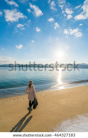 Amanohashidate Sandbar beach in winter morning