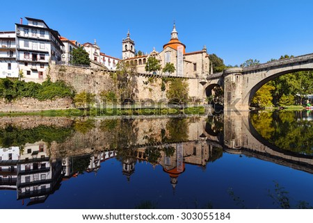 Amarante is a beautiful town in Porto District, in northern Portugal. - stock photo