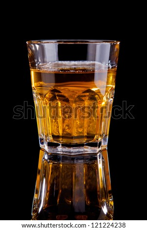amaretto with whiskey alcohol cocktail isolated on black - stock photo