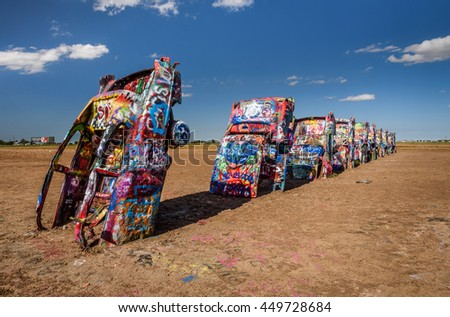 AMARILLO, TEXAS, USA - MAY 12, 2016 : Cadillac Ranch in Amarillo. Cadillac Ranch is a public  art installation of old car wrecks and a popular landmark on historic Route 66