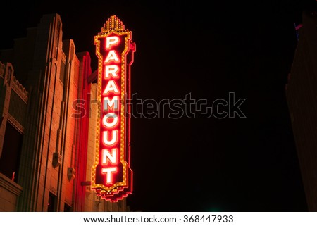 AMARILLO, USA -SEPTEMBER 12; Urban neon signs and lighting historic Paramount Theater built in 1932 downtown on September 12, 2015, Amarillo Texas USA The Paramount Theater opened April 20 1932