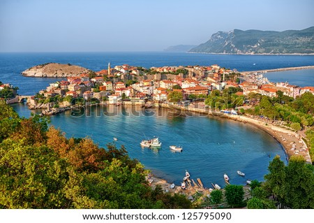 Amasra town on the Black sea coast, Turkey - stock photo