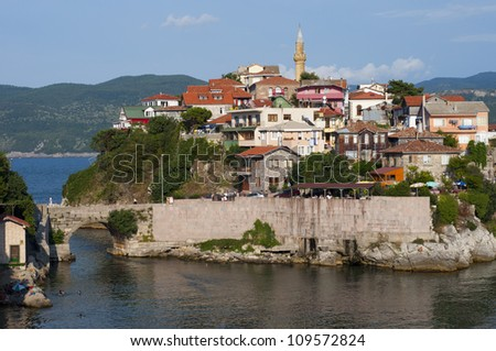 Amasra,Turkey with view of Kemere Bridge on the Black Sea