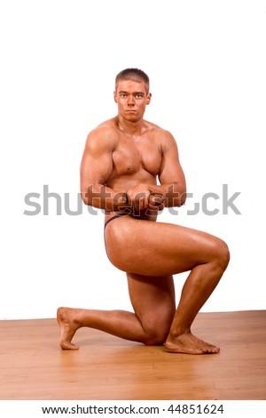 amateur bodybuilder posing - stock photo
