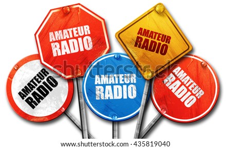 amateur radio, 3D rendering, rough street sign collection - stock photo