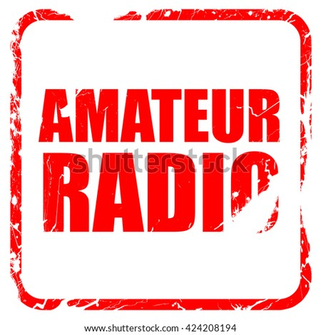 amateur radio, red rubber stamp with grunge edges - stock photo