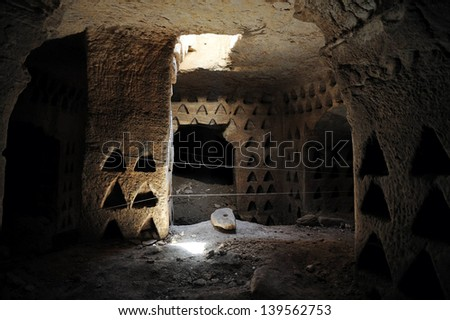 AMATZIA, ISR - AUG 02:Columbarium cave at Amatzia Caves near Kiryat Gat on August 02 2009.During troubled times, the Jews of ancient Israel often dwelled in artificial limestone underground caves.