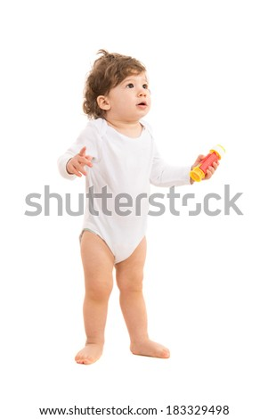 Amazed baby boy looking up to copy space isolated on white background - stock photo