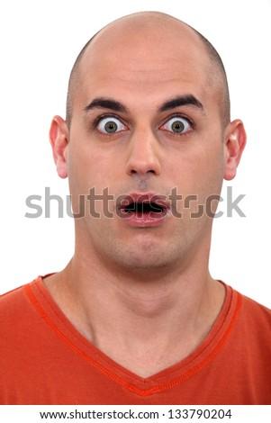 amazed bald man - stock photo