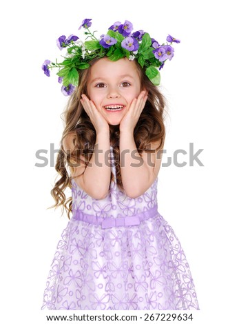 amazed beautiful girl wearing flower headband - stock photo