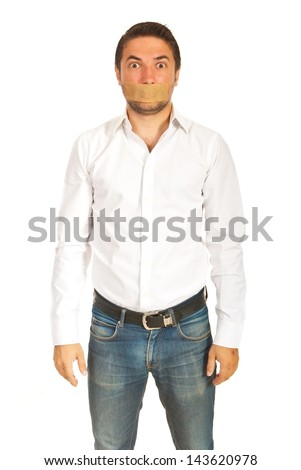 Amazed business man with duct tape over mouth isolated on white background - stock photo