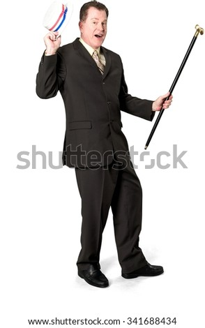 Amazed Caucasian elderly man with short medium brown hair in business formal outfit holding hat - Isolated