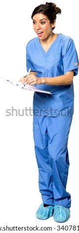 Amazed Caucasian young woman dark brown in uniform using pen - Isolated - stock photo