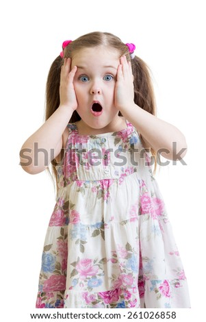 Amazed child girl closeup portrait isolated on white - stock photo