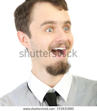 amazed man isolated on the white - stock photo