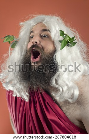 Amazed zeus god or jupiter against orange background - stock photo