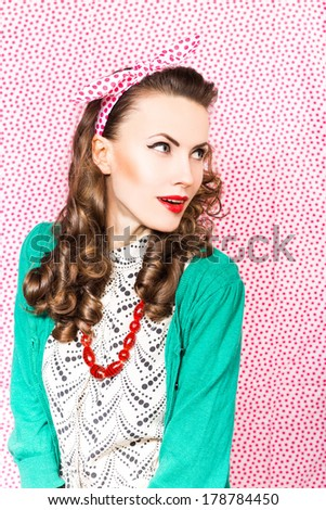 Amazement - beauty woman excited looking to the side. Surprised happy young woman looking sideways in excitement. copy space - stock photo
