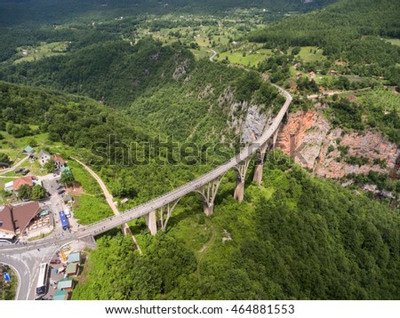 Amazing aerial view at the vehicular Durdevica bridge connecting two sides of Tara river canyon. Montenegro