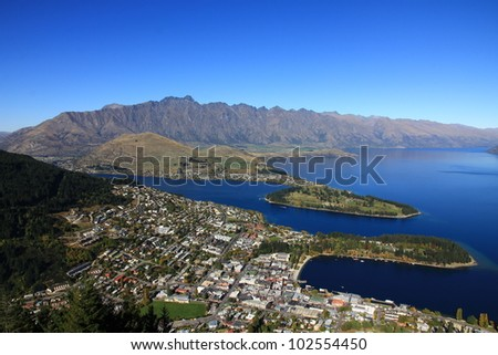 Amazing Aerial View Of Queenstown New Zealand - stock photo