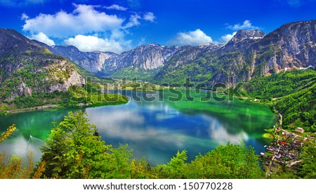 amazing Alpine lakes, Hallstatt, Austria - stock photo