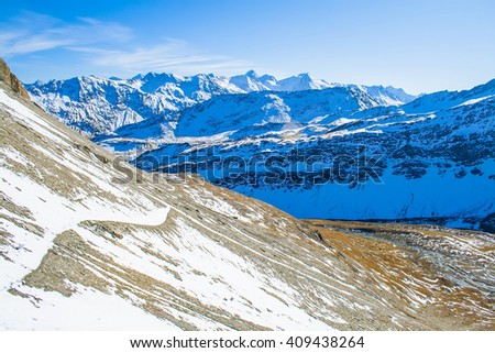 Amazing Alpine landscape. Sunrise, mountain, river, fresh air. - stock photo