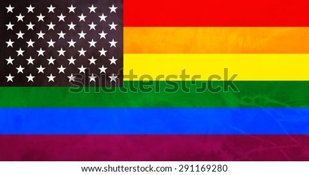 Amazing american and gay flag. USA gay pride flag with best proportions. - stock photo