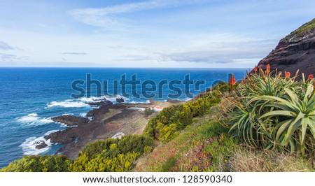Amazing atlantic ocean view, San Miguel (Sao Miguel) island, Azores - stock photo