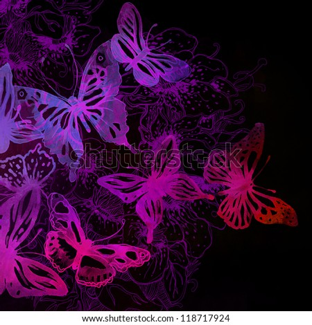 Amazing background with butterflies and flowers painted with watercolors on black - stock photo