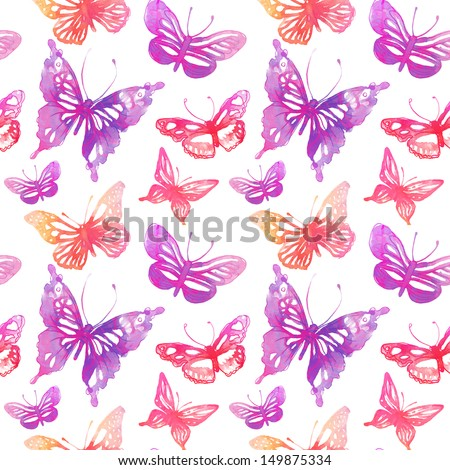 Amazing background with butterflies and flowers painted with watercolors. seamless pattern. - stock photo