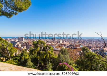 Amazing Barcelona aerial panoramic view from the top of the hill.