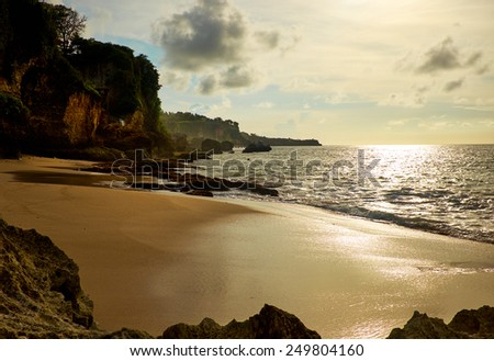 Amazing  beach destination sunrise or sunset with beautiful breaking waves  - stock photo