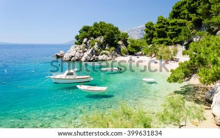amazing beach in Brela on Makarska Riviera, Dalmatia, Croatia - stock photo