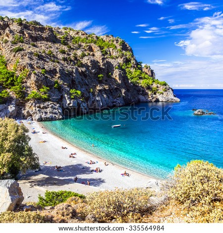 amazing beaches of Greek islands. Karpathos, Achata - stock photo