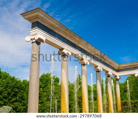 amazing beautiful landscape old historical garden building palace golden sculpture statues and fountains spray water Peterhof city saint petersburg country russia UNESCO world heritage luxury grand - stock photo