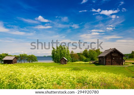 amazing beautiful rural landscape day blue water lake Kizhi north country russia onega karelia green grass tree pure aqua serenity attraction morning azure day