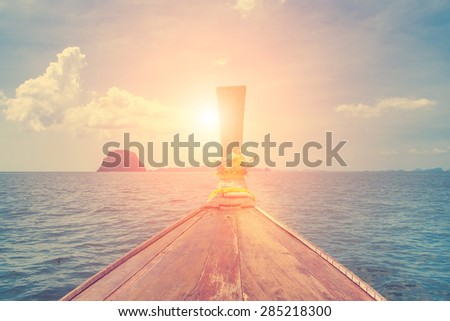 Amazing beautiful view of the sea, boat and clouds - stock photo