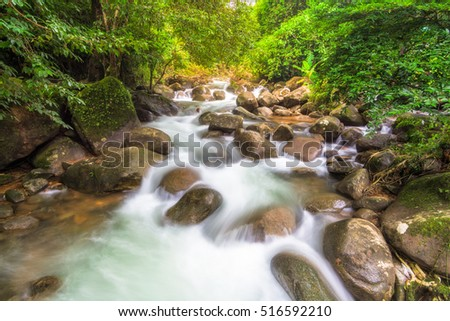 Amazing beautiful waterfalls in deep forest at Phlio Waterfall in Namtokphlio national park,Chantaburi Province, Thailand.