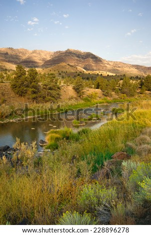 Amazing beauty of Oregon State countryside near John Day Fossil Beds - stock photo