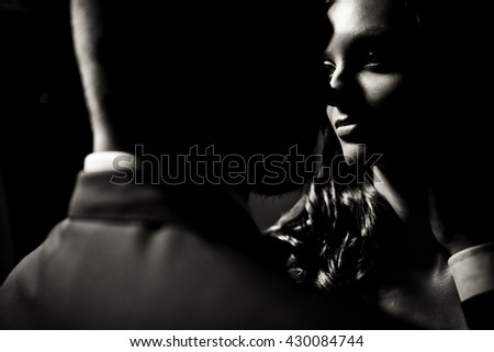 Amazing black and white photo of the couple - stock photo