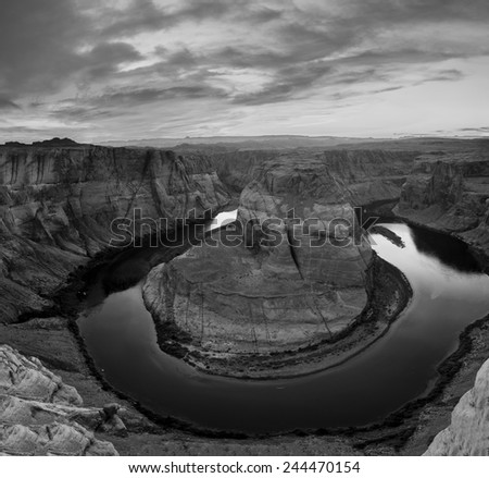 Amazing Black & White image of Horseshoe Bend in Page, Arizona - stock photo