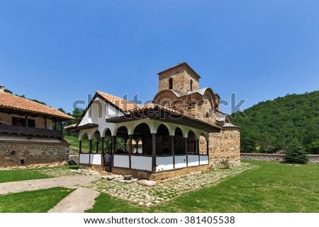 Amazing buildingof the church in Poganovo Monastery of St. John the Theologian, Serbia - stock photo